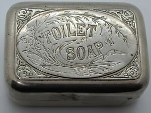 Antique 1930's Art Deco 'Toilet Soap' Nickel Plated Brass Travel Soap Box Case