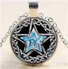Pentagram Crystal Star Cabochon Glass Tibet Silver Chain Pendant Necklace