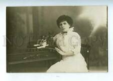 202918 Lady in White Jack Russell Terrier Kitty old Real Photo