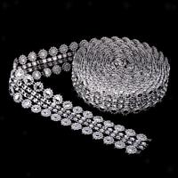 5 Yards Crystal Flower Rhinestone Chain Ribbon Trim Sewing Applique Silver