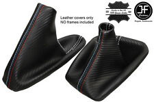 WHITE STITCH CARBON LOOK GEAR HANDBRAKE GAITER FOR BMW  E36 E46 91-05 M STITCH