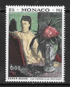MONACO - 1984,  Edgar Degas Birth Anniversary - 6f. Single, MNH