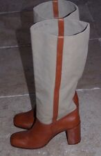 ROBERT CLERGERIE Toile Beige Bottes d'équitation-Taille 41-made in France