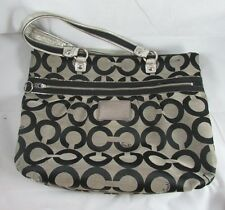 Coach Poppy Op Art Glam Tote Bag Black Gray Model 15331 Authentic