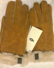 Ugg Australia Women's Chestnut SHORTY GLOVE WITH Sheepskin Sued TRIM Size L-BNWT