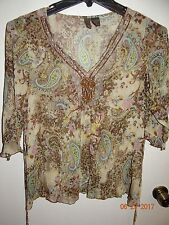 SERE NADE Sz M Trendy Sheer Brown Paisley Print Blouse Tunic Style FREE SHIPPING