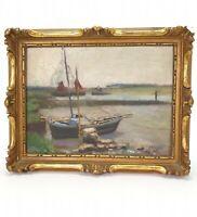 Antique Belgian Painting Oil On Board John WIGGIN (1865-1941) Boats E/0490