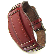 18mm BORDO MAROON VINTAGE USSR ARMY Soviet Russian Genuine Leather Watch Band