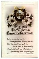 Antique RPPC real photograph postcard card Dear Father with loving Birthday