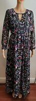 Lace & Mesh S 3XMaxi Dress Long Sleeve Floral Paisley Swirl Black NEW Split Neck
