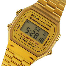 CASIO UNISEX GOLD TONE STAINLESS STEEL DIGITAL LIGHT ALARM METAL WATCH A168WG