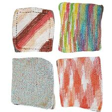 New listing 4 Handmade Knit Washcloths Rags Multi-use Hot Pads Potholders Multi-color