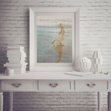 Toes in the Water Beach Ocean Girl Reflection Counted Cross Stitch Pattern