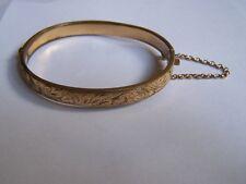 VINTAGE 9ct gold metal core engraved bangle bracelet