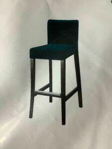 IKEA HENRIKSDAL Cover for bar stool with backrest, Djuparp Dark Green-Blue