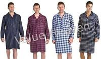 Mens 100% Brushed Cotton Nightshirts Striped Checked Night Shirt Blue Red White