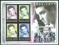 GHANA 70th BIRTH ANNIVERSARY OF ELVIS PRESLEY SC#2496 SHEET IMPERFORATED MINT NH