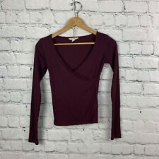 Cape Juby Crossed Neckline Burgundy Long Sleeve Top Ribbed Blouse Size XS / TP