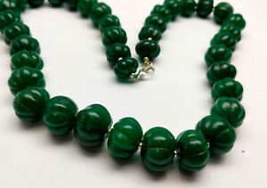 635 Cts 18 MM Natural Green Emerald Pumpkin Round Carved Cut Gemstone Necklace