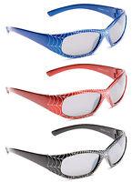 Kids Childrens Boys Girls Mirror Spider Web Cobweb Sunglasses Black Red Blue New