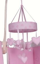 Baby Nursery Musical Cot Mobile Pink Hearts Teddy Soft Lullaby Sounds
