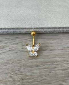 18K Yellow Gold Overlay Butterfly Button Ring Delicate Diamond Dainty Minimalist