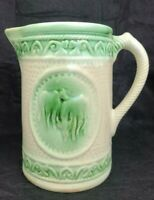 """VINTAGE IVORY AND GREEN GLAZE GRAZING COWS 7"""" STONEWARE PITCHER"""