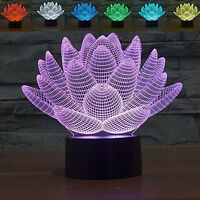 Lotus 3D 7-Color Chang Illusion Night Light LED Lamp Room Decor Touch Swi Gift