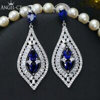 Argent 925 Bijoux Classique Eau Goutte Bleu Foncé Zircone Pierre Noël Cadeaux