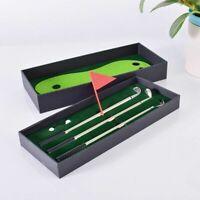 Golf Course Pole Ballpoint Pen Set Mini Desktop Putting Green Flag Clubs Gift