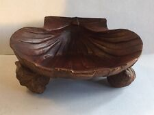 Antique Signed Japanese Chinese Carved Wood Bowl Shell Form Decorative