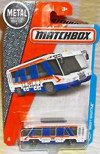 2017  Matchbox #12-125 White Blue Swift Shuttle Bus Diecast 4+ Thailand