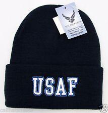 7ae245aa415 US AIR FORCE Military Cuff Beanie Skull Cap Hat United States U.S. Winter  Caps