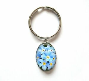 Silver Plated Forget Me Not Photo Oval 25x18mm Keyring *New with Defects*
