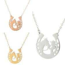 Fashion Women's Horse Girl Clavicle Chain 925 Silver/18k Gold Horseshoe Pendant