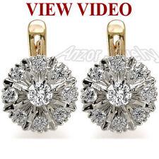 1.82 CT Diamond Earrings Russian Jewelry 14k Rose Gold Earrings Malinka #E940
