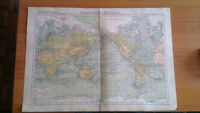 Genuine Hand Colored French Map The World in Planisphere Atlas Delamarche 1897