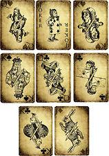 Vintage inspired Alice in Wonderland grunge playing cards scrapbooking s/8 set 1