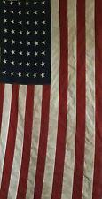 Vintage Ww 2 Era 48 Star Linen American Us Flag 2.5' x 5' Embroidered Stars
