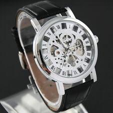 Vintage Men's Transparent Steampunk Skeleton Leather Band Mechanical Wrist Watch