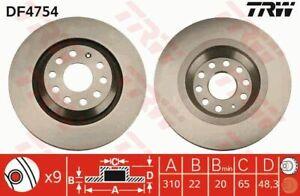TRW Brake Rotor Rear DF4754S fits Volkswagen Passat CC 3.6 FSI 4motion (357) ...