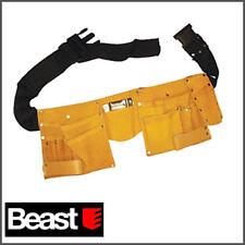 Cinturón de herramientas de cuero con 11 bolsillos