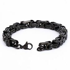 "Men's 8mm Stainless Steel Bracelet Wrist Link Black Tone 8.5"""