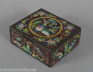 Antique Chinese Enamelled Wood Lined Brass Box Republic Period