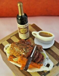 NEW DOLLHOUSE ROAST BEEF DINNER ON WOODEN BUTCHER BLOCK TABLE, RED WINE & GLASS