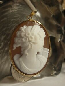 GENUINE / 14K YELLOW GOLD ITALIAN CARVED SHELL CAMEO PENDANT HEAVY : 10.28 GRAM