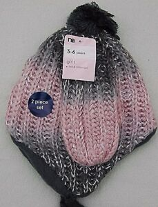 Mothercare Girls Hat & Mittens Age 3 - 6 Years Knitted Lined Winter Set New