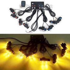8In1 16 LED 16W Remote Control Flash Strobe Warn Light Deck Dash Grill Amber 12V