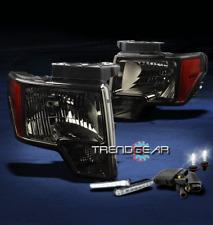 2009-2012 FORD F-150 PICKUP SMOKE/AMBER CRYSTAL HEAD LIGHT+DRL LED+HID 6000K KIT