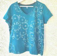 SB ACTIVE Blue Patterned T-shirt  Womens  Size XL Short Sleeve